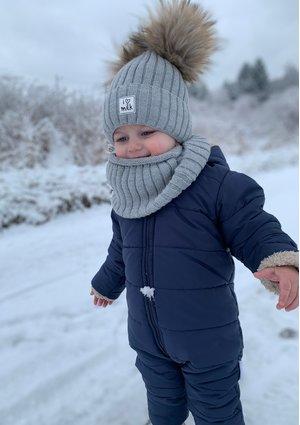 Winter beanie with pompoms grey